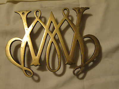 Large Virginia Metalcrafters Williamsburg William and Mary Brass Trivet 1950