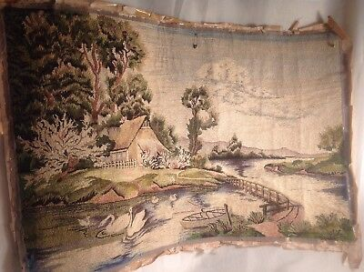 Antique Landscape needlepoint textile tapestry asian China Japan swans