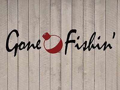 "Gone Fishing Beach Wall Quote Vinyl Sticker Decal 10""h x 40""w"