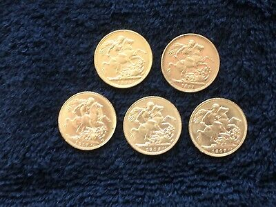 Gold Sovereigns 1891-1917 In Very Good Condition & To Be Sold As A Lot Of 5.