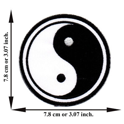 Black + White Yin Yang Tao China Chinese Symbol Sign Applique Iron on Patch Sew
