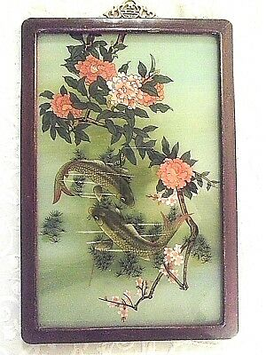 Beautiful Antique Reverse Painting Japanese Artwork Gorgeous Colors Very Nice