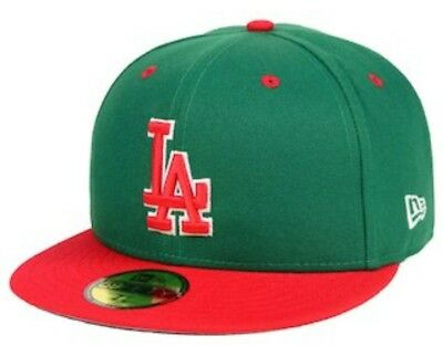 NEW ERA 59FIFTY LOS ANGELES DODGERS Baseball Hat RED   WHITE cap ... aaa847bd52a0