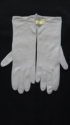 Vintage  White Embroidered Nylofit By Glovers Gloves Size L