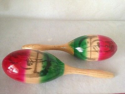 """VTG Maracas Hand Painted Palm Trees Mexican Wood Percussion Music Shakers 11"""""""