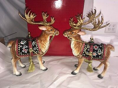 "2 Fitz & Floyd Christmas Lodge 15""  Reindeer Candle holders  in Box (issue)"