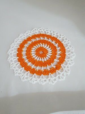 Pumpkin Orange in White Bumblebee doily Approximately 5 Inches.