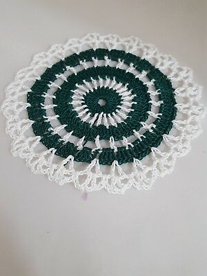 Forest Green in White Bumblebee doily Approximately 5 Inches.