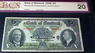 Canada ,bank Of Montreal $5 1938