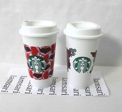 2 Pack Starbucks 2019 Valentine Hearts Flowers Plastic Reusable Tumbler Cup