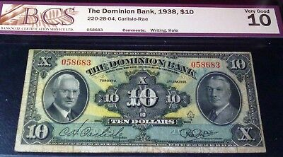 The Dominion Bank 1938 $10
