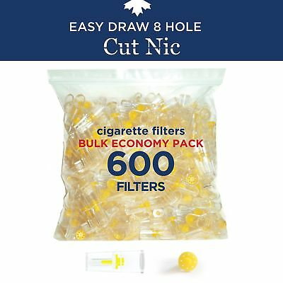 Cut-Nic 8 HOLE EASY DRAW Disposable Cigarette Filters - Bulk Economy Pack (600..
