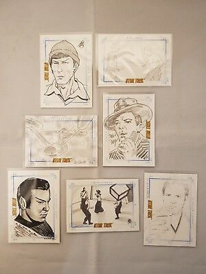 Star Trek  TOS PORTFOLIO PRINTS SKETCHAFEX Hand Drawn Sketch Cards x7 1:24