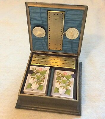 Victorian brass with enamel decoration Bezique and Cribbage games box