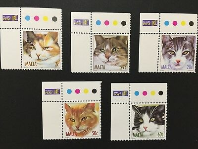 Malta 2004 Cats stamps, 5 mint stamps unhinged.