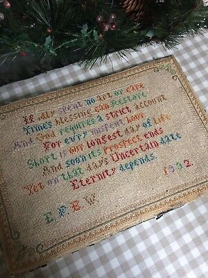 Vintage Embroidery Needlework Religious Verse Picture Dated 1932