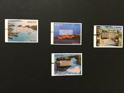 Malta 2002 label stamps, 4 stamps and FDC. Malta places of interest.