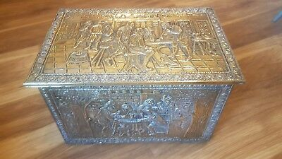 brass scene and wood COAL /KINDLING scuttle with liner