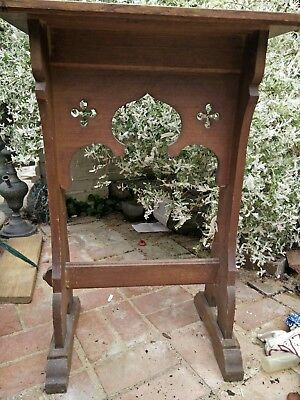 Old Antique Wooden Church Lecturn Carved Bible Stand