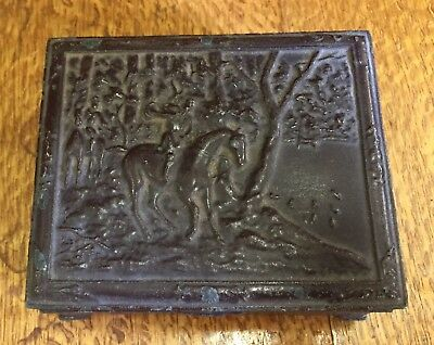 Vintage Painted Metal Footed Hinged Small Box