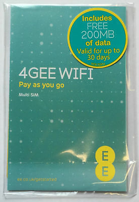 EE PAYG DATA SIM FREE 200MB Pre-Loaded any Tablet, iPad, MiFi 3G 4G Brand New !