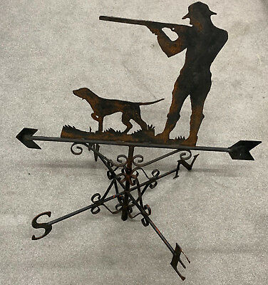 Antique ORIGINAL  Weather Vane Hunting Dog shotgun Sportsman metal