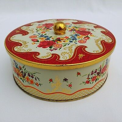 Metal Tin Can Red Floral With Cover Made in England Vintage