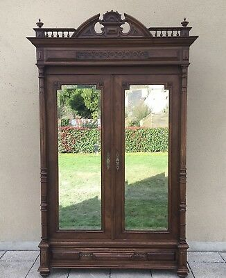 Antique French Double Armoire With Mirrored Doors Carved Wardrobe Linen Cupboard