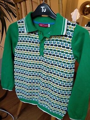 Little Bird / Mothercare retro Green Jumper 100% Cotton Knit age 6 - 7 Years