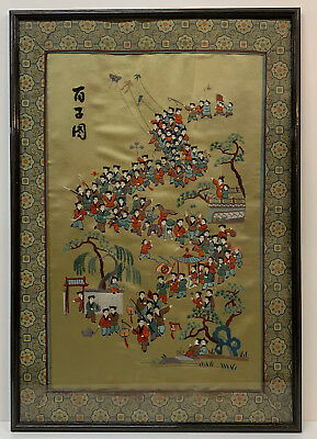 Antique Chinese Silk Embroidered wall  Panel Framed silk  children Picture