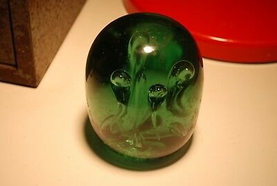 Victorian Green Glass Dump Antique Paperweight Bubbles Pontil To Base 9cm High