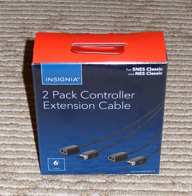 Insignia 2 Pack Controller Extension Cables 6ft Length Each for NES/SNES Classic