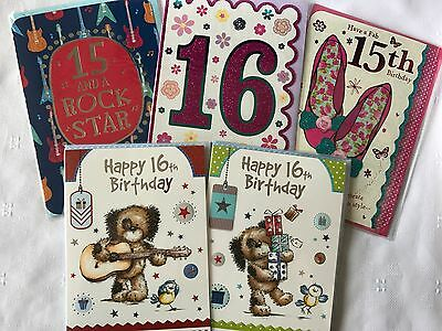 Boy Girl Teenager Ages 13 13th 14 14th 15 15th 16 16th Birthday Cards 37 Designs