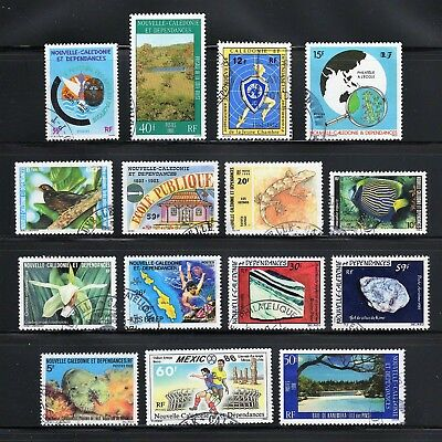 New Caledonia -- 15 diff postally used commemoratives -- cv $11.10 -- see notes