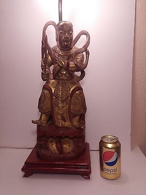 Chinese Large Carved Wood Guardian Warrior & I. Red and Gold Figure Med. 19th C.