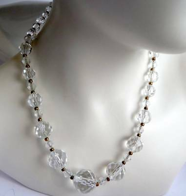 ANTIQUE ART DECO c 1930s CRYSTAL GLASS BEAD CHAIN NECKLACE  OLD ANTIQUE BEADS,