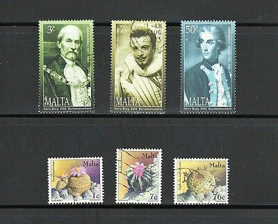 Malta -- 6 diff used commemoratives from 2002 -- cv $9.10