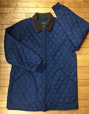 Vtg J. CREW Men's M Full Zip Nylon Quilted Corduroy Coat Jacket Navy Blue Brown