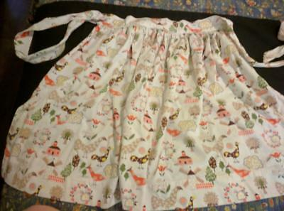 Vintage Cotton Apron Fantastic Print with Chickens Roosters Peacocks Trees MORE