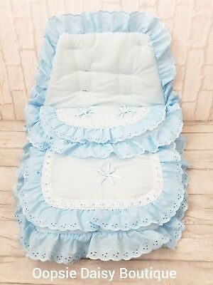 Baby Girls Blue Broderie Luxury Ribbon Foot Muff Cosy Toes Pram Nest