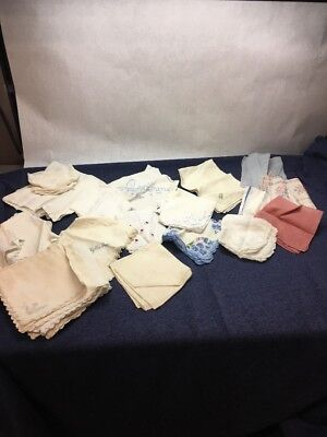 Lot of Vintage HANKIES DOILES  Hand Crafted Cut embroidered Linen Napkins