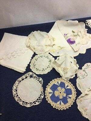 Lot of Vintage DOILES  Hand Crafted Cut embroidered Linen Napkins Table COLORS