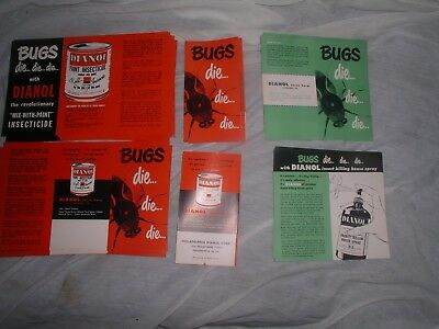 25 vintage dianol bug insecticide instructions/labels  unused