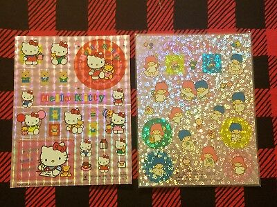"Vintage Sanrio HELLO KITTY & LITTLE TWIN STARS Lot of 2 ""Sparkly"" Sticker Sheets"