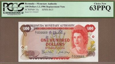 BERMUDA: 100 Dollars Banknote,(UNC PCGS63),P-33cr/ RG3, REPLACEMENT, RARE,01.01.