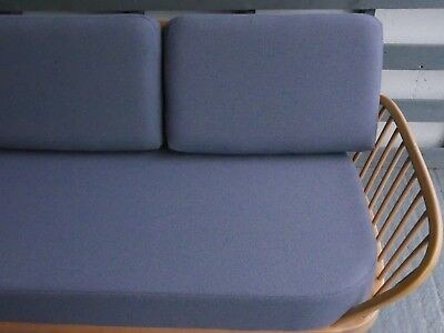 Cushions & Covers Only. Ercol Studio Couch/Daybed.  Steel Grey Blue 92% wool