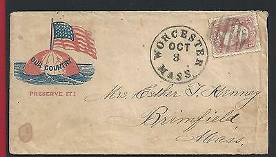 1861 United States/USA, n° 22 3 cent. rosa on letter patriotic