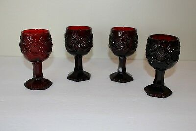 Avon Ruby Red 4.5 inch Wine Goblets 1876 Cape Cod Collection Glassware Set of 4