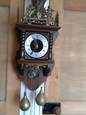 large 8 day dutch wall clock striking on bell 2 heavy weights