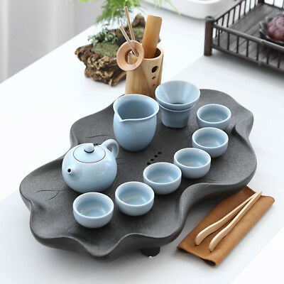 Chinese tea set with tea tray black stone tea table lotus design carved pot cups